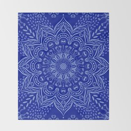 Blue Boho Mandala Throw Blanket