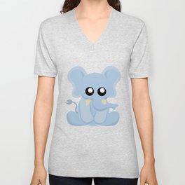 Cute Blue Elephant Sitting Unisex V-Neck