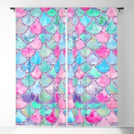 Colorful Pink and Blue Watercolor Trendy Glitter Mermaid Scales  Blackout Curtain