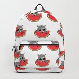 Raccoon Eats Watermelon  Backpack
