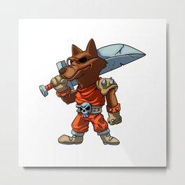 funny warrior wolf  cartoon - angry knight werewolf Metal Print