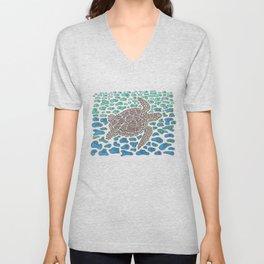 Vanishing Sea Turtle by Black Dwarf Designs Unisex V-Neck
