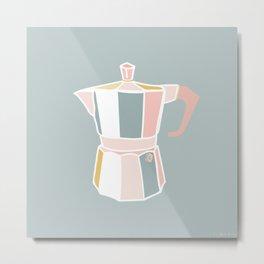 Retro Coffee Love | Minimalist Espresso-Maker Illustration Metal Print