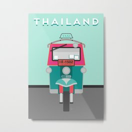 Thailand Tuk Tuk Travel Poster Block Type Metal Print