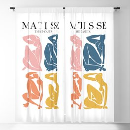 Abstract woman pastel color matisse woman artwork the cut outs Blackout Curtain