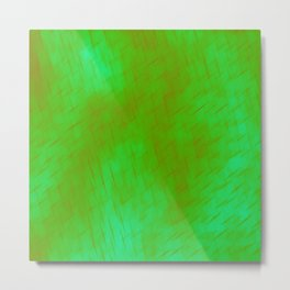 Line texture of green oblique dashes with a luminous intersection on a luminous charcoal. Metal Print