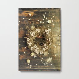 Easter egg wreath on a wooden background Metal Print