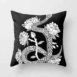 Snake & Flowers Gothic Punk Witchy Illustration Throw Pillow
