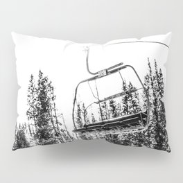 Empty Skilift // Black and White Snowboarding Dreaming of Winter Pillow Sham