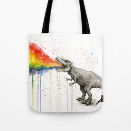 T-Rex Dinosaur Vomits Rainbow Tote Bag