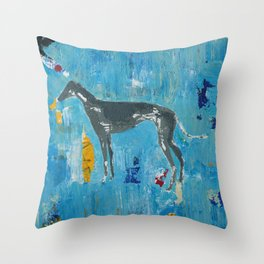 Greyhound Dog Abstract Painting Throw Pillow