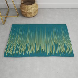 Dark Yellow Minimal Frequency Line Art on Tropical Dark Teal Inspired by Sherwin Williams 2020 Trending Color Oceanside SW6496 Rug