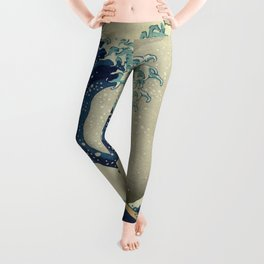 The Classic Japanese Great Wave off Kanagawa Print by Hokusai Leggings