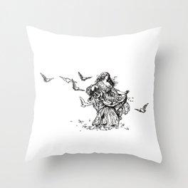 """Songs From Shakespeare"" Shakespearean Woman Feeding Doves Throw Pillow"