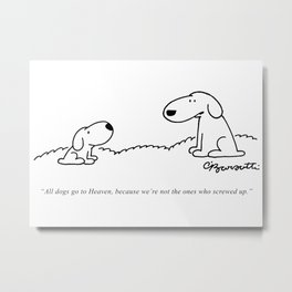 Barsotti, All dogs Go To Heaven Artwork, for Wall Art, Prints, Tshirts, Men, Women, Youth Metal Print