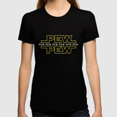 Pew Pew v2 Black LARGE Womens Fitted Tee