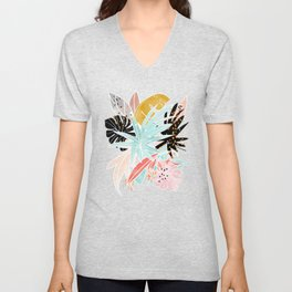 Veronica, Tropical Eclectic Bold Monstera Palm Illustration Nature Modern Colorful Jungle Unisex V-Neck