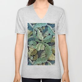 William Morris Herbaceous Italian Laurel Acanthus Textile Floral Leaf Print  Unisex V-Neck
