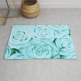 Turquoise roses -flower pattern - Vintage rose Rug