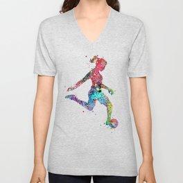 Girl Soccer Player Watercolor Sports Art Unisex V-Neck