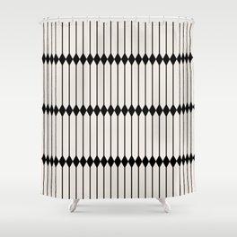 Minimal Geometric Pattern - Black Shower Curtain
