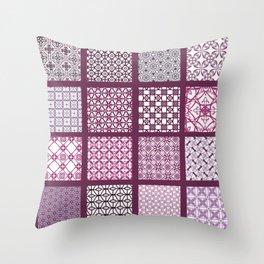Burgundy tiles Throw Pillow