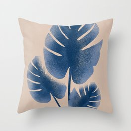 Three minimal blue leafs Throw Pillow