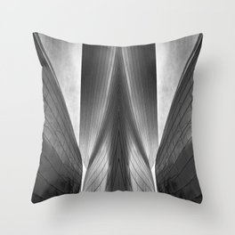 Architectural abstract captured in black and white from low perspective rendering a dramatic view. Throw Pillow
