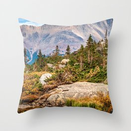 Pond on the Mountain // Beautiful Green Landscape of Trees and Mountains Throw Pillow