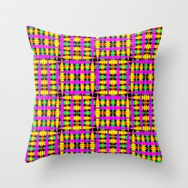 Strict poplite of intersecting blue squares and green curly rhombuses. Throw Pillow