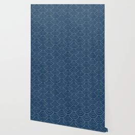 Blue sashiko pattern Wallpaper