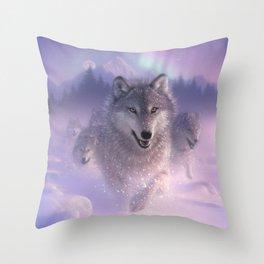 Wolf Pack Running - Northern Lights Throw Pillow