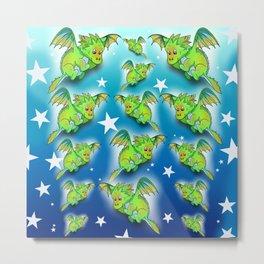 Green cartoon flying dragon pattern Metal Print