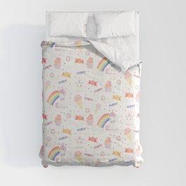Kawaii Unicorn with Candy and Rainbows Comforters