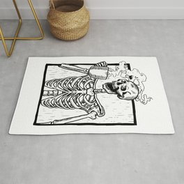 Skeleton Drinking a Cup of Coffee Rug