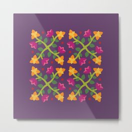 Baltimore Woods Floral Cross Pattern Metal Print