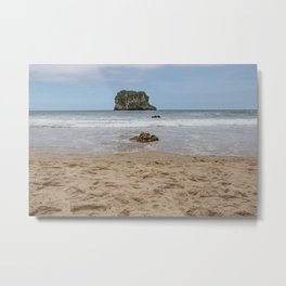 Rocks and little island on the coast of a little beach Metal Print