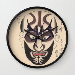 KABUKI Mask Traditional Make-Up Theatre Kanteiryu Wall Clock