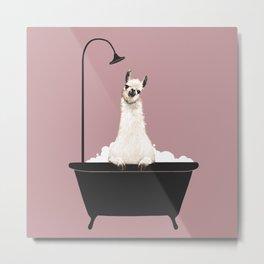 Llama in Bathtub Metal Print