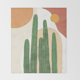 Abstract Cactus I Throw Blanket