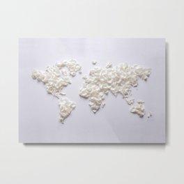 White Rose Petal World Map Metal Print