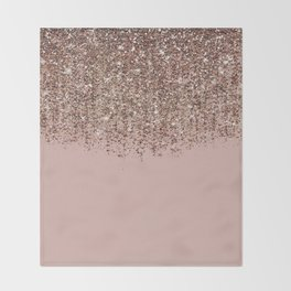 Blush Pink Rose Gold Bronze Cascading Glitter Decke