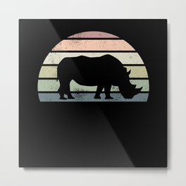 Vintage Rhino Rhinoceros Wildlife Gift Metal Print