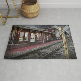 Old Train Station with Crossing Sign in Gutherie Oklahoma No.0840 A Fine Art Railroad Landscape Phot Rug