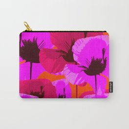 Pink And Red Poppies On A Orange Background - Summer Juicy Color Palette Retro Mood #decor #society6 Carry-All Pouch