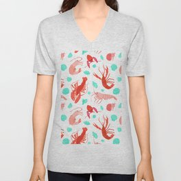 Dance of the Crustaceans in Pearl White Unisex V-Neck
