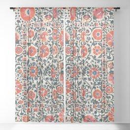 Shakhrisyabz Suzani  Uzbekistan Antique Floral Embroidery Print Sheer Curtain