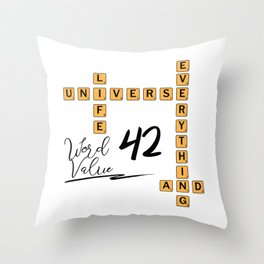 Life Universe and Everything Scrabble 42 Throw Pillow