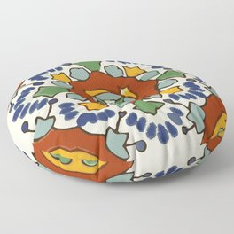 Talavera Mexican tile inspired bold design in blue, green, red, orange Floor Pillow