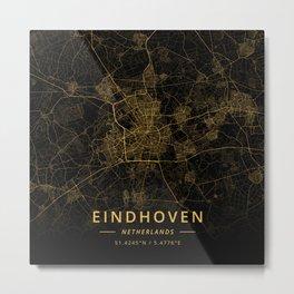 Eindhoven, Netherlands - Gold Metal Print
